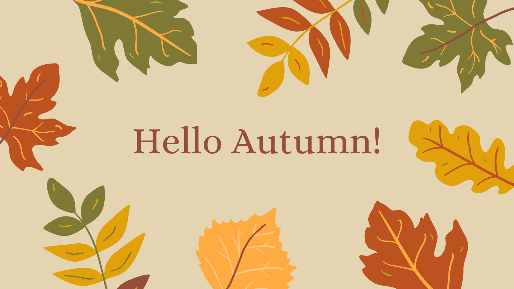 'Hello Autumn!' is surrounded by autumn leaves in reds, yellows and greens on a beige background